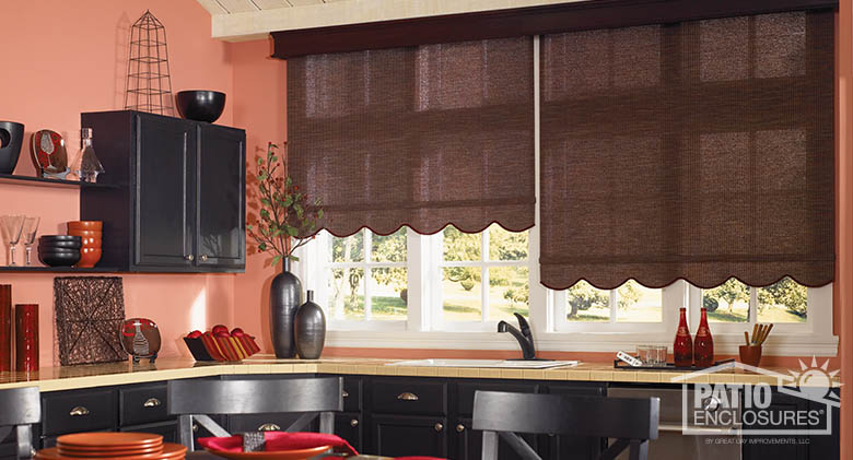 Motorized roller shades in Russet with Regal dark cherry wood cornice