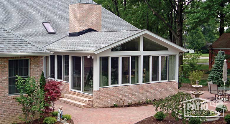 White Aluminum Frame Four Season Room with Gable Roof