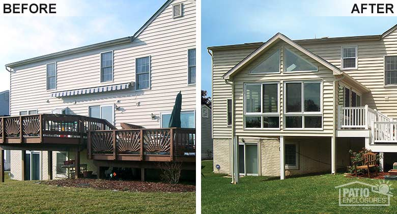 Before and After Sunroom Photo