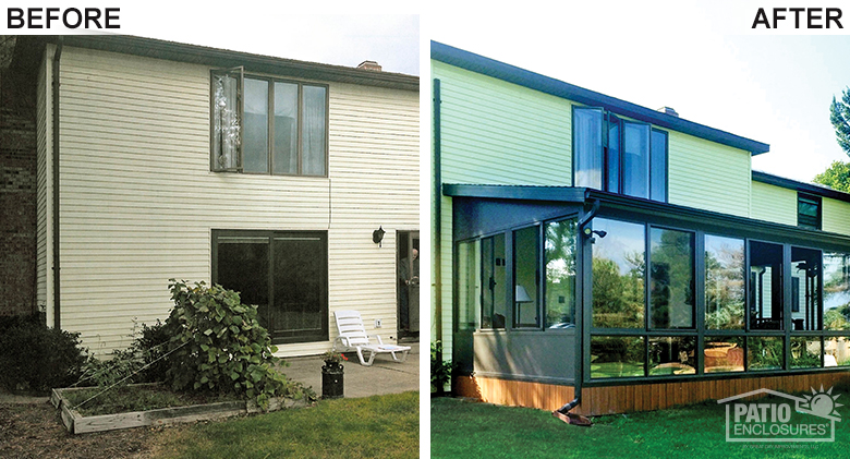Bronze Four Season Sunroom Before & After Pic