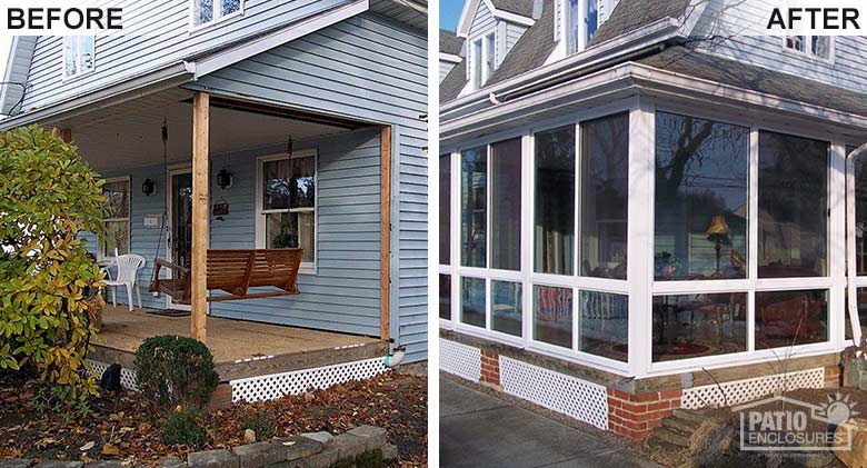 White three season room with glass knee wall enclosing an existing covered porch.
