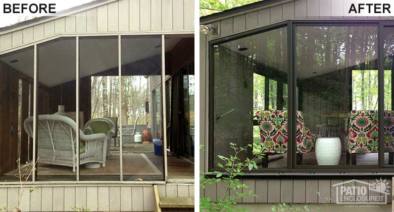 Bronze three season room with floor-to-ceiling windows enclosing an existing screened-in porch.