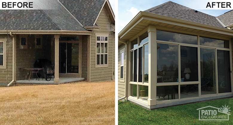 Porch Enclosure Before & After Pic