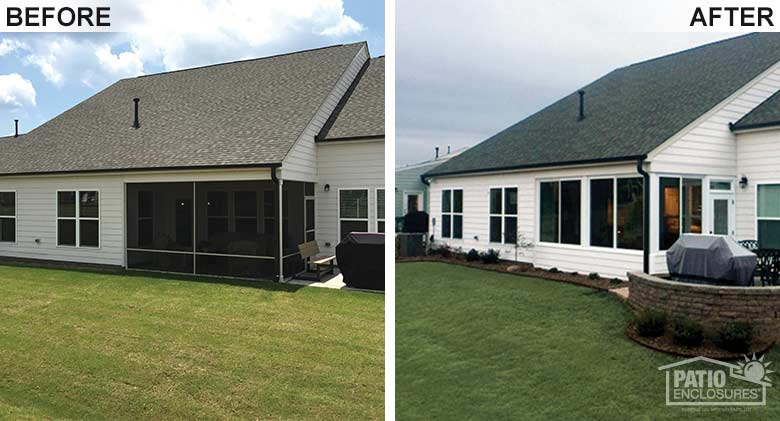 White elite three season room with solid knee wall enclosing and existing screened-in porch.