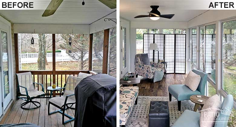 Elite three season room in white with glass knee wall enclosing an existing screened-in porch.
