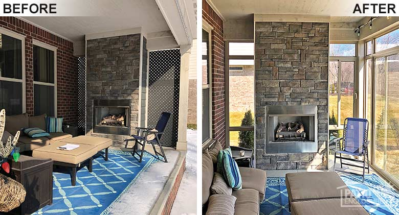 Sandstone elite three season room with transom enclosing an existing covered porch with fireplace.