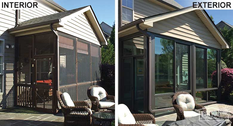 Bronze four season room with aluminum frame and glass knee wall enclosing an existing screened-in porch.