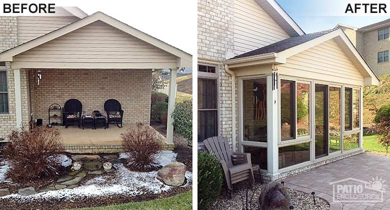 Sandstone four season room with vinyl frame and glass knee wall enclosing an existing covered patio.