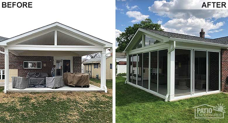 White screen room enclosing an existing covered patio.
