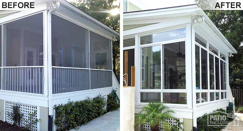 White elite three season room with glass knee wall enclosing an existing screened-in porch.