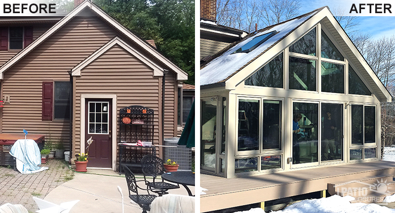 Four Season Sunroom Before & After Pic