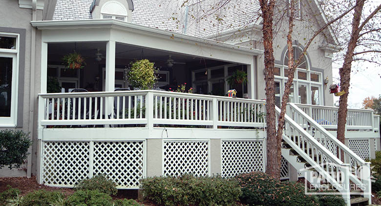 Expansive white porch cover