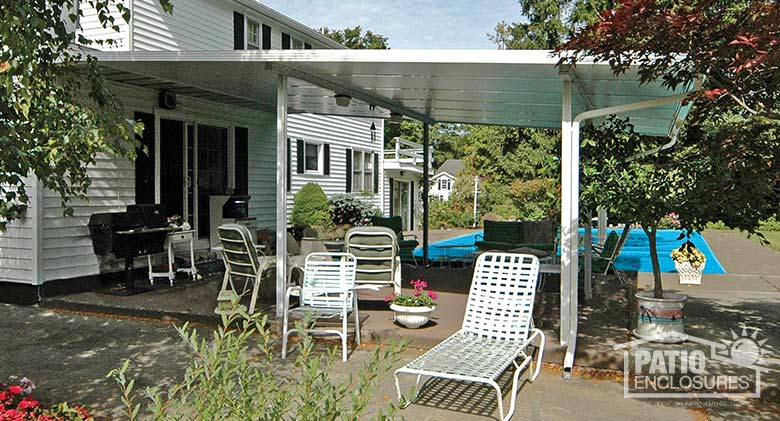 White patio cover provides protection from the hot sun.