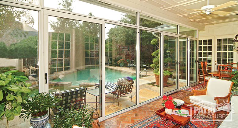 Enclosed patio overlooking pool (Interior). - Porch Enclosure Designs & Pictures Patio Enclosures