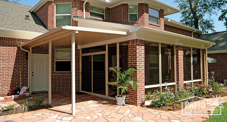 Patio enclosure with solid awning on existing brick foundation. - Exterior Home Photos, Sunroom Photos Patio Enclosures