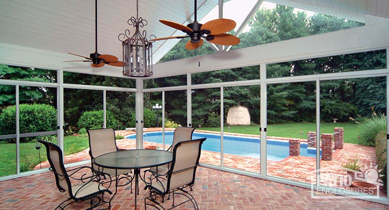 Screened In Porch Ideas Design all images White Aluminum Frame Screen Room With Custom Gable Roof