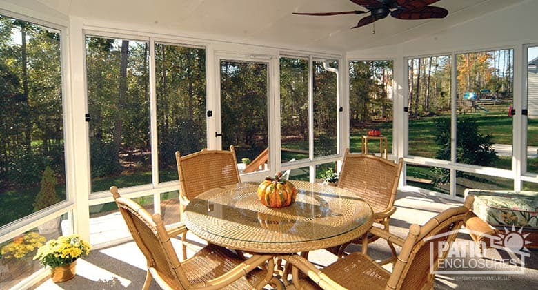 Screened In Porch Design Ideas screened porch fireplace home design photos White Aluminum Frame Screen Room With Single Slope Roof