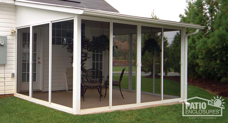 white aluminum frame screen room with single slope roof - Screen Porch Ideas Designs