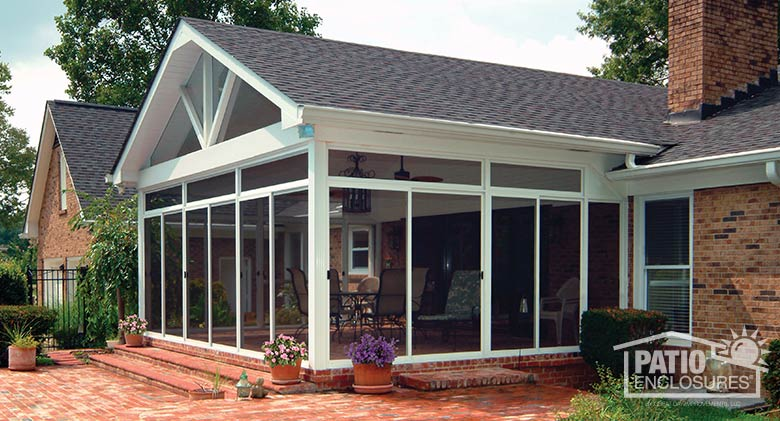 Sandstone Aluminum Frame Screen Room with Custom Gable Roof