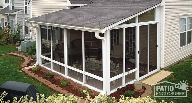 White Aluminum Frame Screen Room With Single Slope Roof
