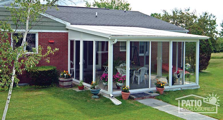 sunroom kits easyroom sunroom kit in white with a single slope roof