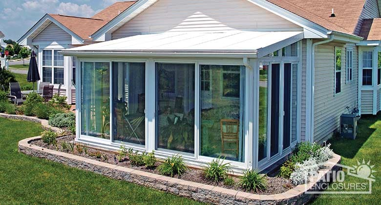 sunroom kits easyroom kit in white with a single slope roof and glass