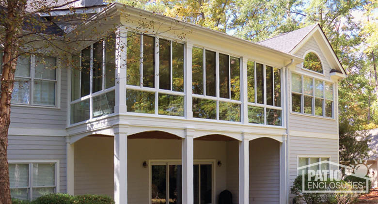 White Aluminum Frame Three Season Sunroom with custom wood roof