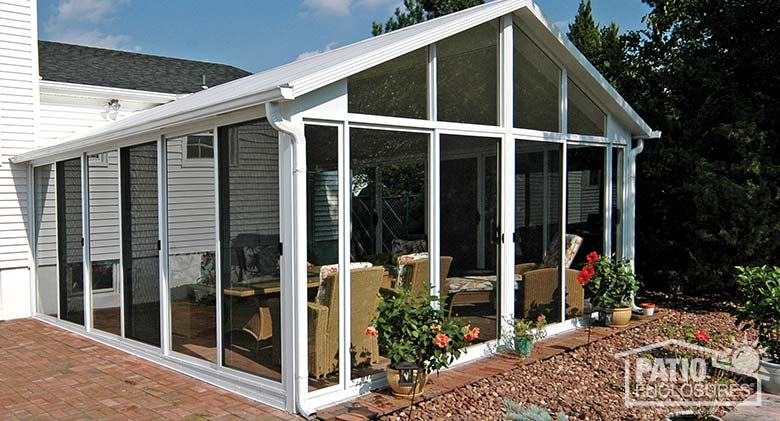 Bronze Aluminum Frame Three Season Room with Glass Wings in a Gable Roof