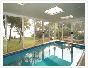 pool enclosure with skylights