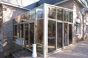 at patio enclosures we use 1 inch thick double pane insulated glass in our glass rooms to make heating and cooling the space as easy as possible - Glass Enclosures