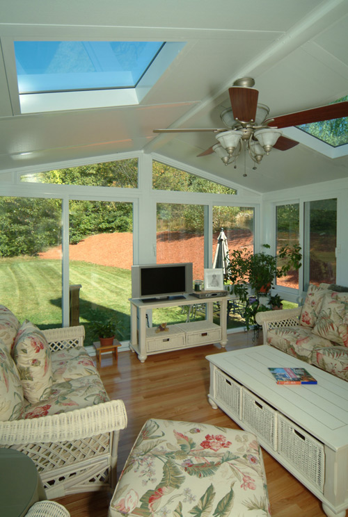 Inside View Of A Sunroom With Vaulted Ceiling And Skylights