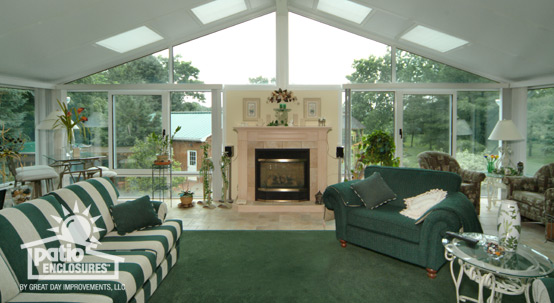 A magnificent, classic fireplace surrounded by glass