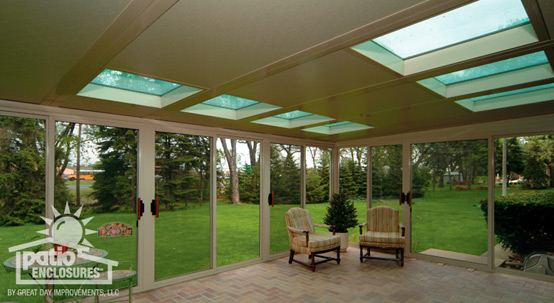 Screened-in porch with skylights