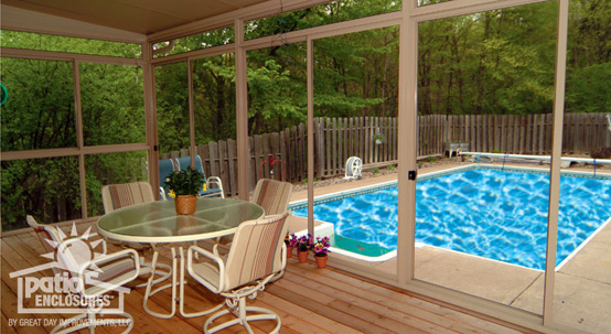 Screened-in porch by a pool
