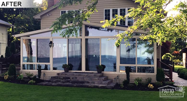 Insulated three season room offers views of Lake Erie