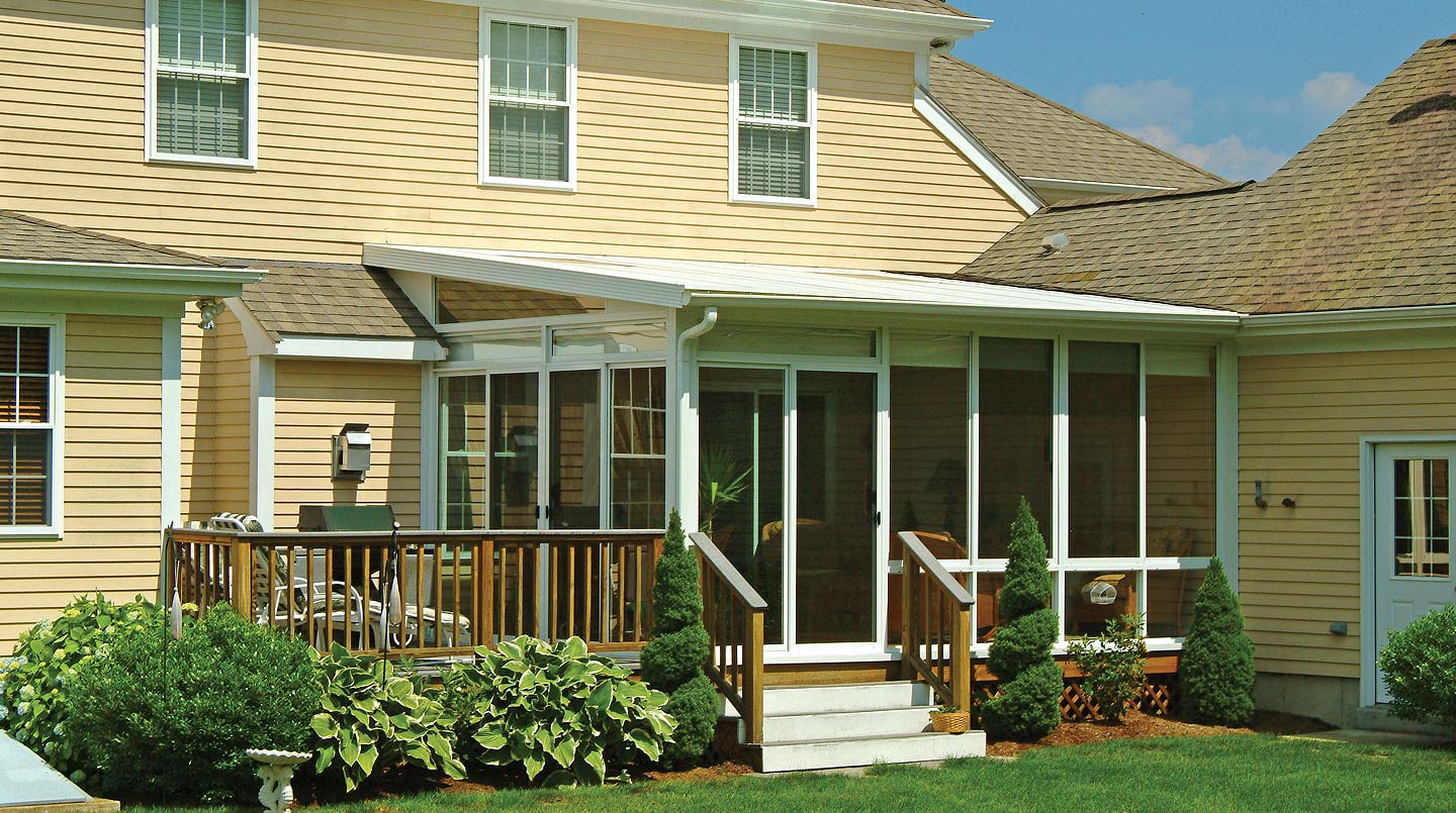 Pictures of sunrooms with single slope roofs patio for Sunroom roofs