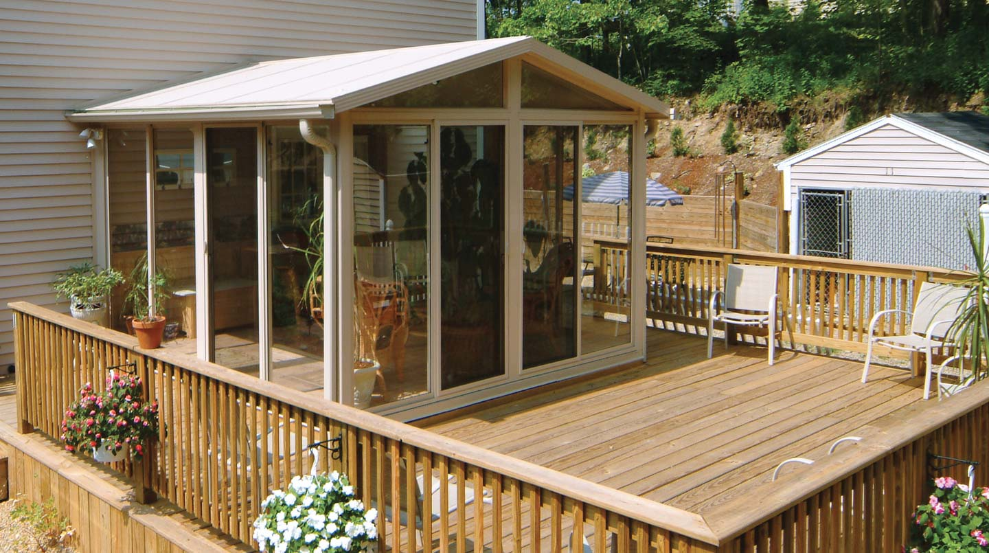 Pictures of sunroom kits easyroom patio enclosures for Detached sunroom