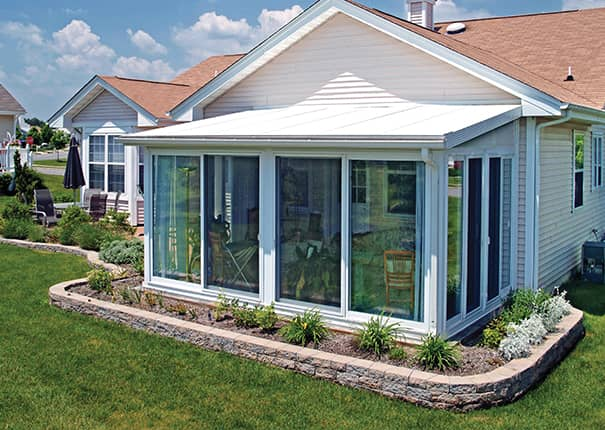 Sunroom kit easyroom diy sunrooms patio enclosures for Backyard sunroom