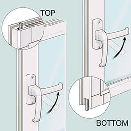 Sunroom dual-point throw-bolt locking system with night latch